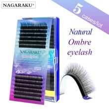 Nagaraku Wimpers Maquiagem 5 Gevallen Lot Individuele Wimper Ombre Kleur Paars Blauw Kleurverloop Premium Soft Faux Nertsen Cilios