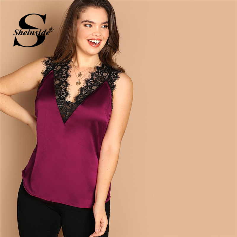 Sheinside Plus Size Lace Trim Double V Neck Satin   Top   Female   Tanks   & Camis 2019 Summer Sexy Lady Vest Sleeveless Women   Tank     Tops