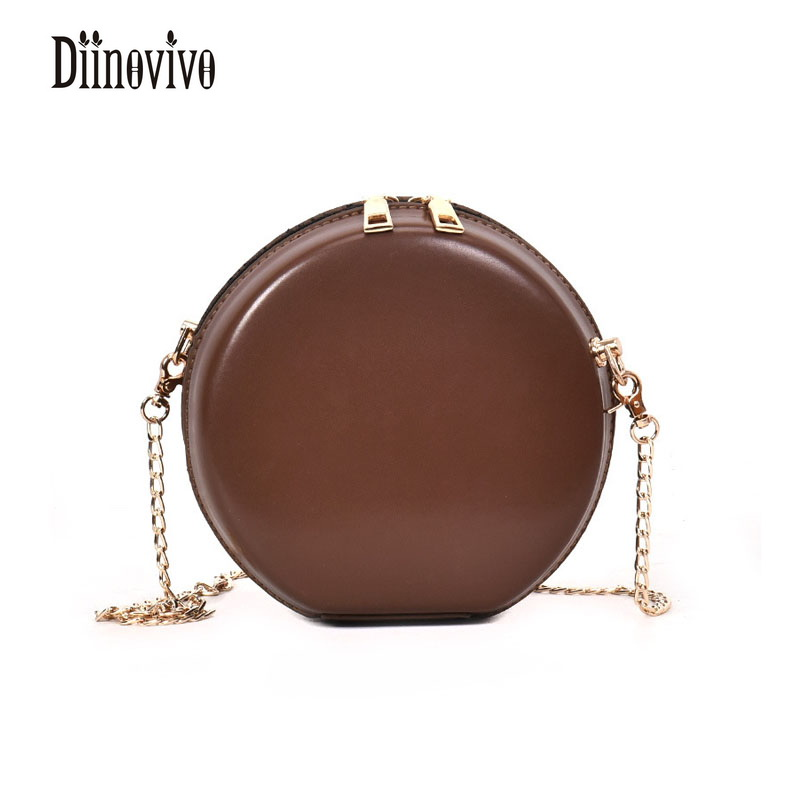 DIINOVIVO Mini Chains New Fashion Circular PU Leather Simple Shoulder Bags Vintage Classic Womens Bags Famous Brand Bags DNV0287