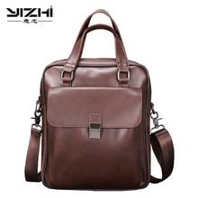 YIZHI 2018 Business Men  Computer Bag High Quality PU Leather Vertical Backpack Shoulder