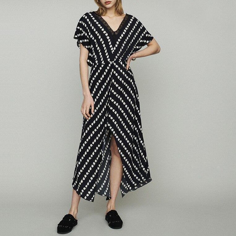 100 viscose Women Dress deep V neck Geometric Daisy Print Cardigan midi Dress