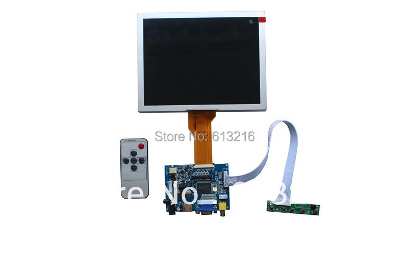 HDMI-VGA -2AV  LCD  driver board +OSD keypad with cable+Remote control with receive +8 inch LCD panel EJ080NA-05B     800*600 + hdmi vga 2av reversing driver board 8inch at080tn52 800 600 with touch panel