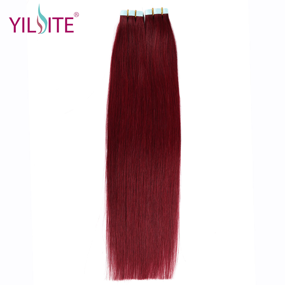 Yilite 2gpcs 18 Non Remy Tape In Hair Extension Burgundy 99j
