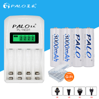 Free Shipping Intelligent LCD Display Indicator 4 Slots AA AAA Battery Charger 4pcs Aa 3000mah NiMh