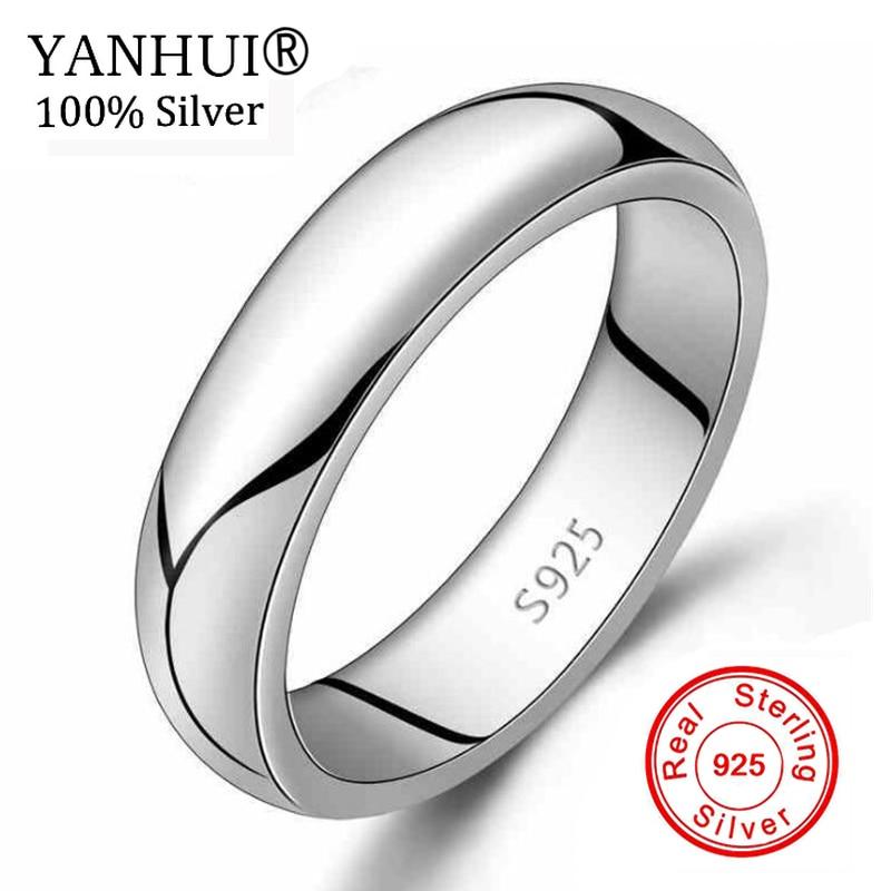8060caecdd55 Яньхуэй классические чистого серебра обручальные кольца для Для женщин и  Для мужчин модные платья аксессуары 925 пробы Серебряные ювелирные.