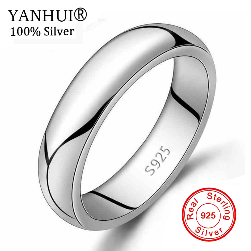 Yanhui Pure Silver Wedding Rings Men Dress Accessories 925 Sterling Silver Jewelry G74 Ring Size 4
