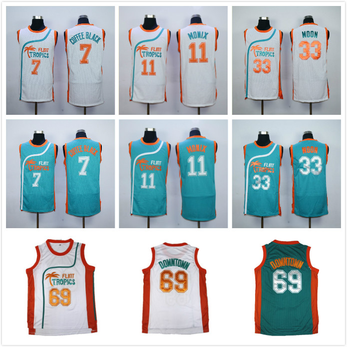 Semi Pro Flint Tropics Jackie Moon 33# Coffee Black 7# Ed Monix 11# Downtown #69 Throwback Retro Basketball Jerseys All Stitched 44 rev 30 44 pistol pete basketball jerseys