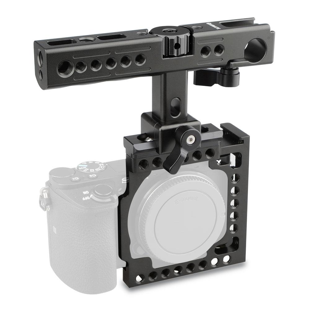 DSLR Camera Cage Top Handle Holder Bracket Steadicam Hot Cold Shoe Mount For SONY A6500 Photo Studio Kit C1382