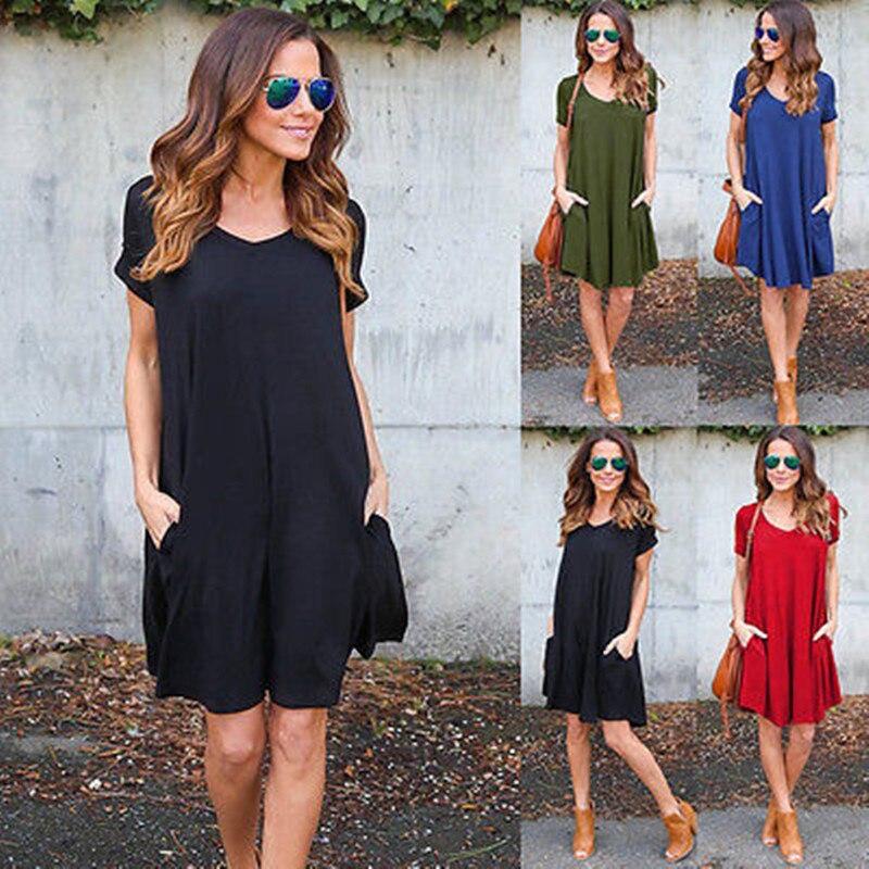 Fashion Summer Women ShortSleeve Dress Casual Sexy V-Neck Elegant Mini Dresses Clothes 2018