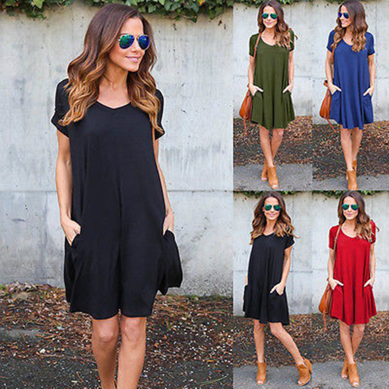 Fashion Summer Women ShortSleeve Dress Casual Sexy V-Neck Elegant Mini Dresses Clothes 2018