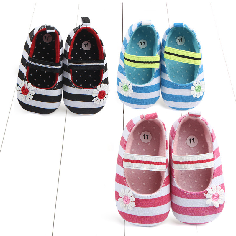 Foreign Trade New Pattern Stripe Floret Baby Shoe Baby Non Slip Study Walking Shoes 0783