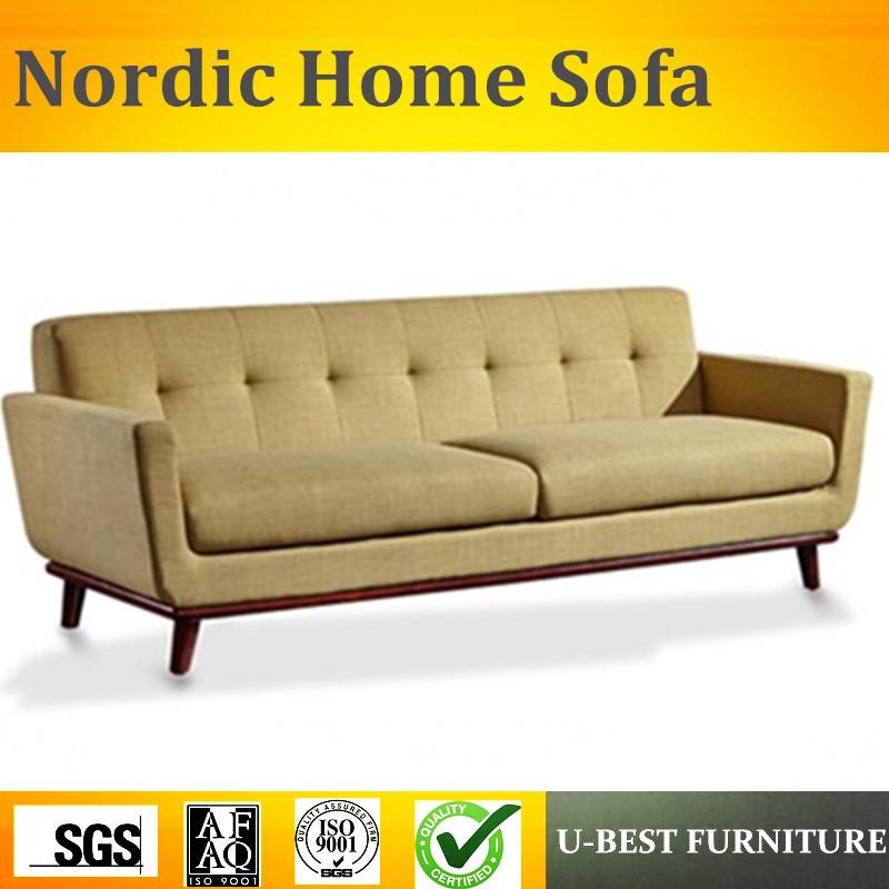 U-BEST Latest design superior quality modern wooden sofa set designs,Linen fabric 3seater sofa image