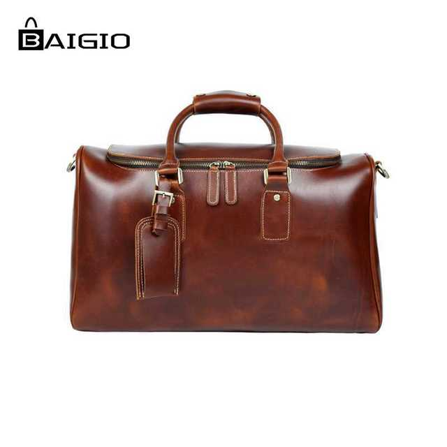 Baigio Genuinie Leather Travel Bags Men Duffle Overnight Weekender Bag Carry On Shoulder Luggage S Business