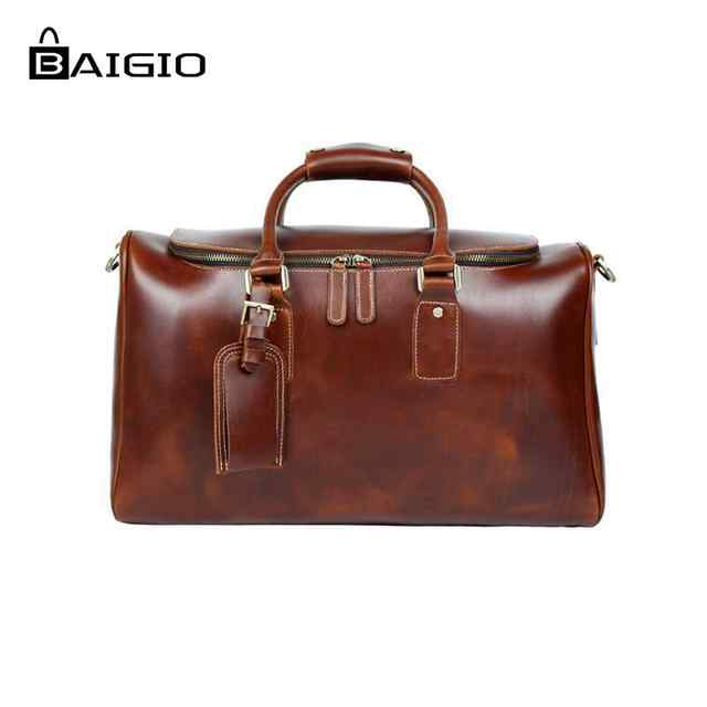 0c1232fbf1f Online Shop Baigio Genuinie Leather Travel Bags Men Duffle Overnight  Weekender Bag Carry on Shoulder Luggage Men s Business Travel Bags    Aliexpress Mobile