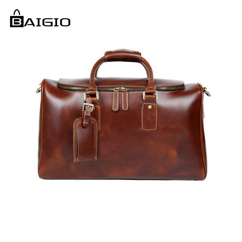 Baigio Travel Bag Men Leather Overnight Tote Duffle Bag Brand Designer Large Capacity Hand Luggage Shoulder Bag Travel Bags