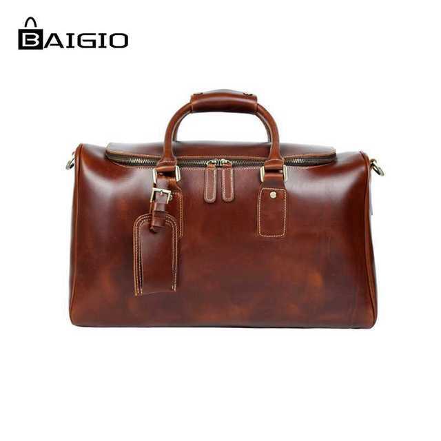 Baigio tote duffle saco de viagem dos homens de couro noite saco de marca designer de grande capacidade de bagagem de mão bolsa de ombro sacos de viagem
