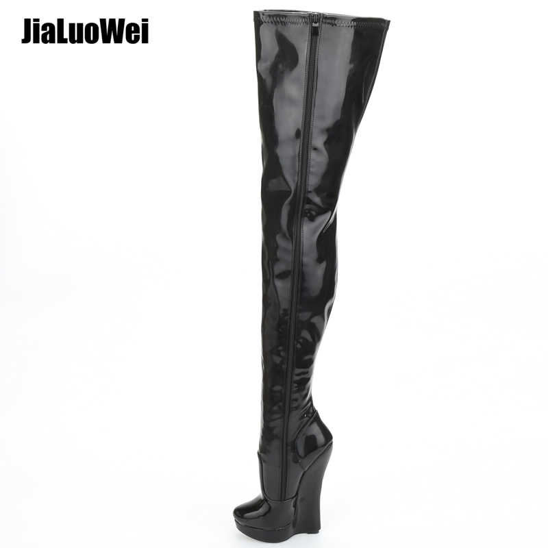 jialuowei 2018 New arrival 18CM high Heel wedges Platform Sexy Fetish stunning slim over-the-knee thigh boots unisex plus size