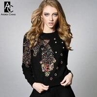 2016 Winter Spring Designer Womens Clothing Set Black Gray White Knitted Colorful Beading Fish Pattern Fashion
