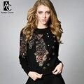 Inverno primavera designer de mulheres blusas preto branco cinza de malha colorido beading padrão de peixe moda bonito qualidade da marca camisola