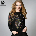 winter spring designer womens sweaters black gray white knitted colorful beading fish pattern fashion cute quality brand sweater