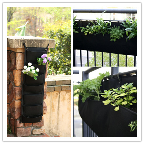 Lowest Price 7 Pockets Plant <font><b>Flowerpot</b></font> Hanging <font><b>Vertical</b></font> Wall Garden Sky Planter Flower Planting Bags Pot Home Balcony <font><b>Gardening</b></font> image