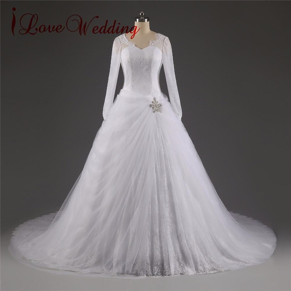 iLoveWedding Långärmad Kapell Tåg Bollkleda Bröllopsklänningar - Bröllopsklänningar