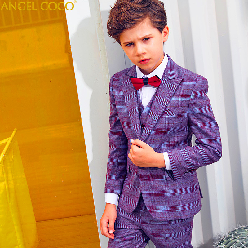 Plaid Boys Suits For Weddings Kids Blazer Suit For Boy Costume Enfant Garcon Mariage Jogging Garcon Blazer Boys Tuxedo Menino tartan plaid raw edge blazer