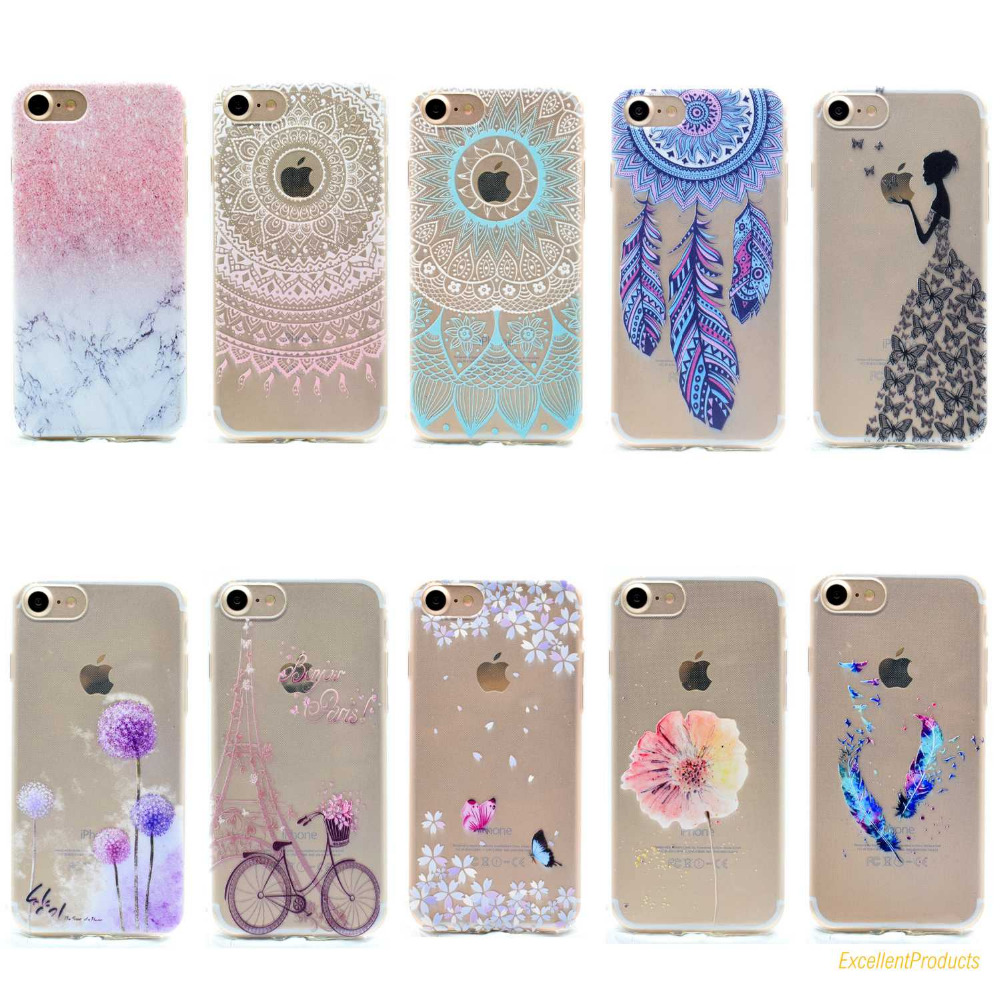 For Apple iphone 6 6S phone case Flowers Tower Dandelion bicycle Dreamcatcher feather Painted