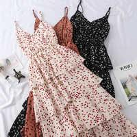 New Summer Sweet Heart Print Spaghetti Strap Dress Women Slim V-Neck Beach Long Dresses Sleeveless Sundress Party Vestidos Mw635