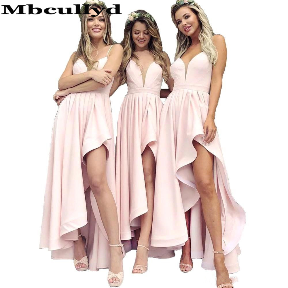 Mbcullyd Pink A-line   Bridesmaid     Dresses   2019 Sexy Spaghetti Straps Under 100 Wholesale Price Long Maid Of Honor Vestido madrinha