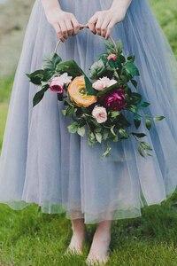 Image 3 - Iron gold metal ring draagbare guirlande kunstmatige bloem rack Kerst krans bruiloft bruid handgemaakte bloemen dream catcher hoepel