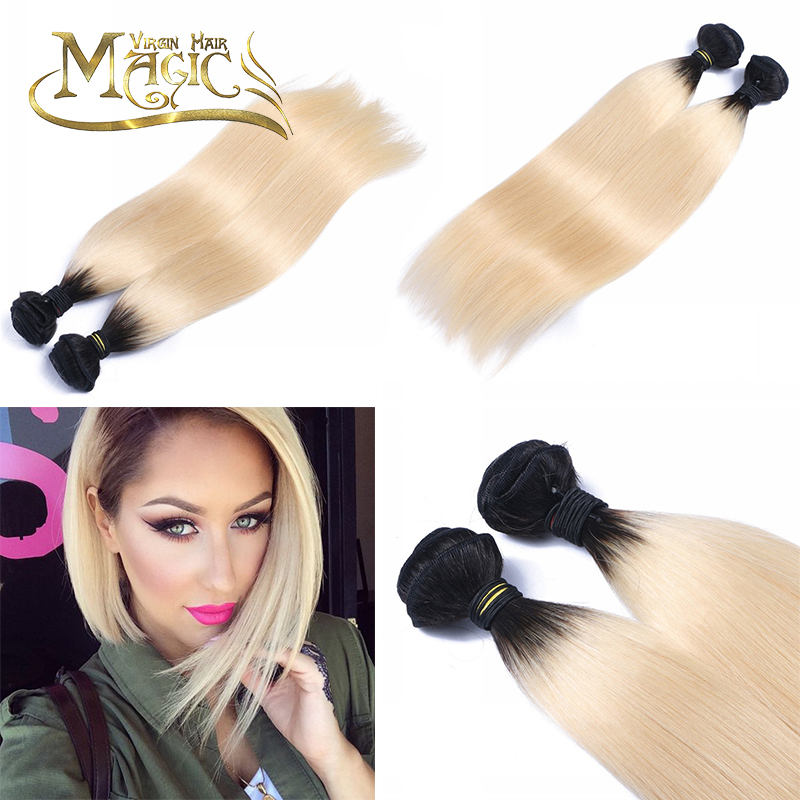 Ombre Virgin Hair Straight 1b 613 Bleached Color Dark Black Roots