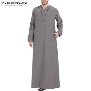 Image 2 - INCERUN, caftán islámico árabe, ropa musulmana para hombres, Túnica holgada de manga larga con cuello en V para hombres, Túnica Abaya Jubba Thobe de Arabia Saudita 2020