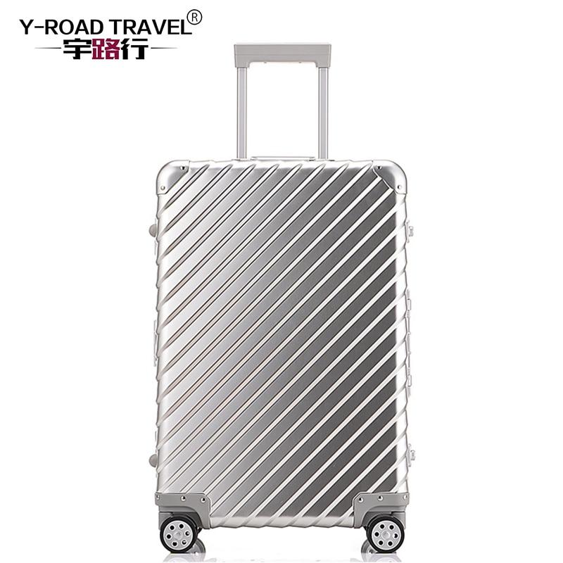 100% Aluminum Luggage Hardside Rolling Trolley Luggage travel Suitcase 20 Carry on Luggage 24 28 Checked Luggage