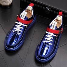 ERRFC British tide men's shoes fashion casual shoes Shiny blue buckle hip hop shoes for man youth trending platform white shoes