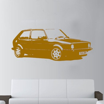 High Quality Vintage XL Large Car VW Golf GTI Mk1 Classic Wall Art Decal Sticker Home Decoration Art Mural Room Sticker Y-173 image