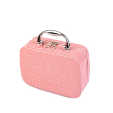 Hot 2016 Small Mini Alligator Cosmetic Cases Cute Flower Lady Makeup Bag Women PU Leather Make up Suitcase Crocodile Tote jx013
