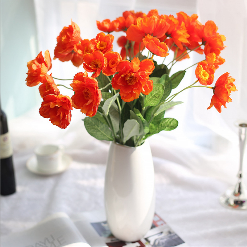 53cm sunset red artificial silk flower 2 heads fake poppy wedding 53cm sunset red artificial silk flower 2 heads fake poppy wedding flowers for garland hair home decoration bouquet v4167 in artificial dried flowers from mightylinksfo
