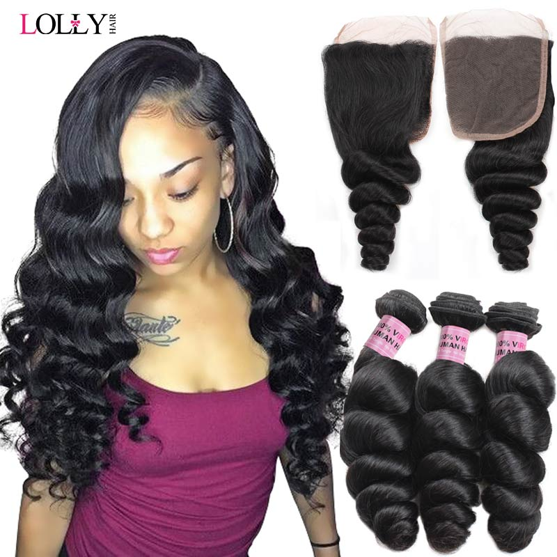 Human Hair Weaves Hair Extensions & Wigs Loose Wave Bundles With Closure Brazilian Hair Weave Bundles With Closure Non Remy Lolly Human Hair 3 Bundles With Lace Closure