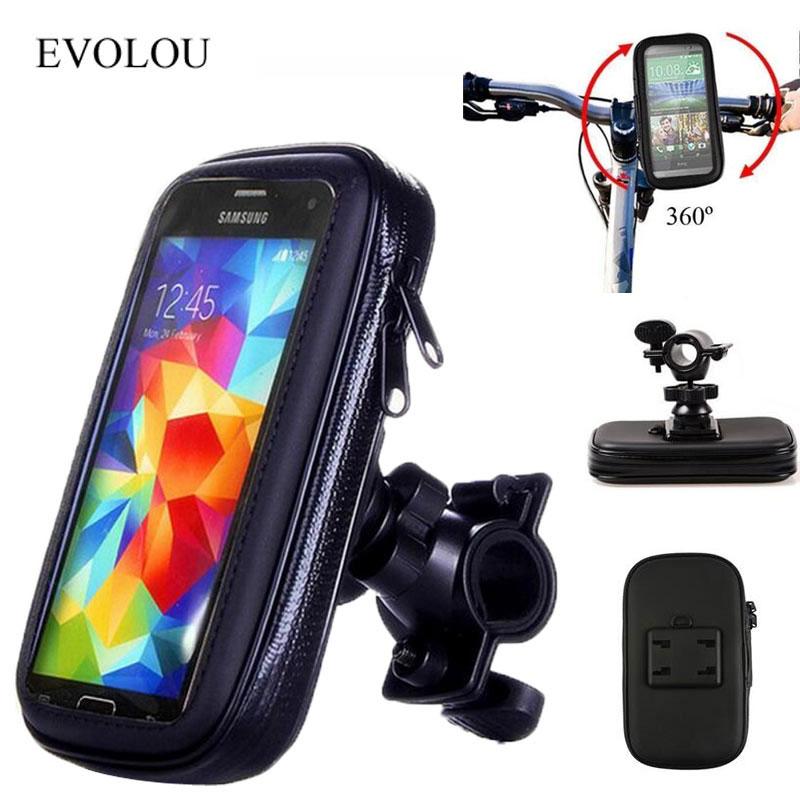 Universal Mobilt Stöd Motorcykel Hållare Cykel Styrfäste Montering Bracket Stand Vattentät Väska för iphone X För Samsung GPS Cover