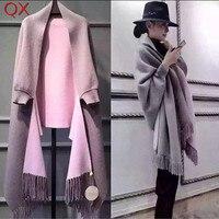 SC2 2017 Oversize Doppelseite Schal Winter Faux Cashmere Poncho Frauen Feste Designer Weiblichen Langen Ärmeln Wrap Vintage Schal