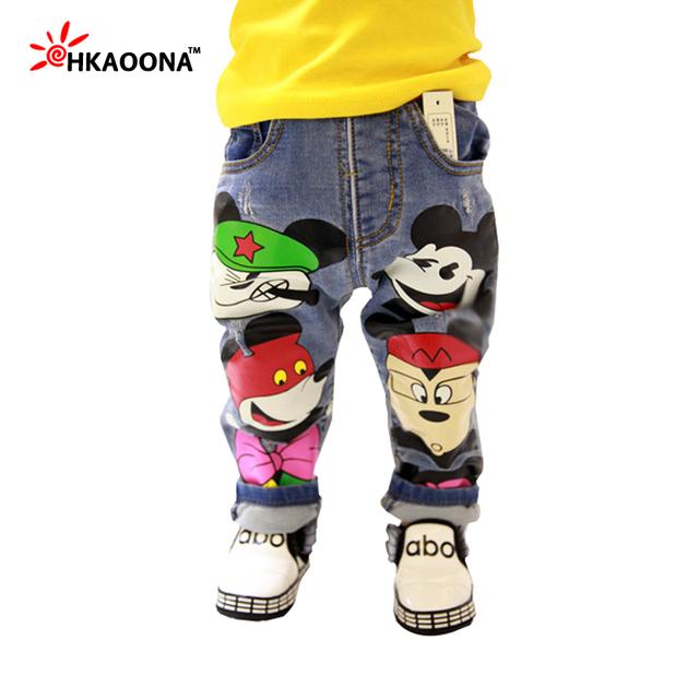 Retail Niños Ratón de Dibujos Animados Niñas Pantalones Niños Pantalones Niños Moda Casual ropa prendas de Vestir Exteriores Larga de Caracteres de Impresión