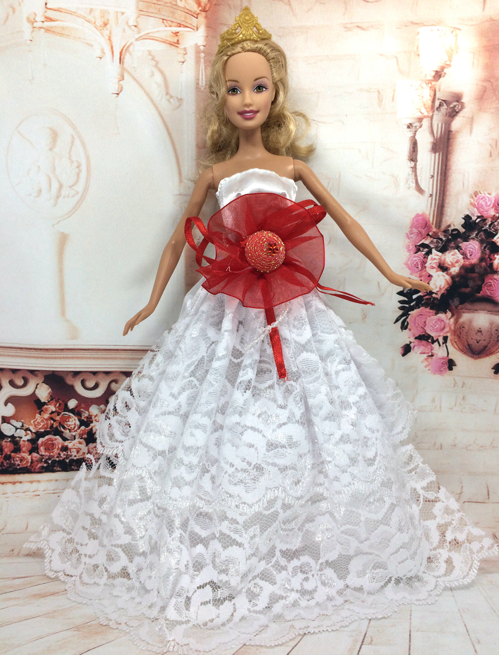 NK One Pcs Handmade Princess Wedding Dress Noble Party Gown For Barbie Doll Fashion Design Outfit Best Gift For Girl' Doll 019A