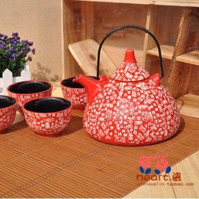 2015 Promotion Rushed Jingdezhen Under The Glaze Color free Shipping Tea Set Surnames Teapot Wedding Gift Piece