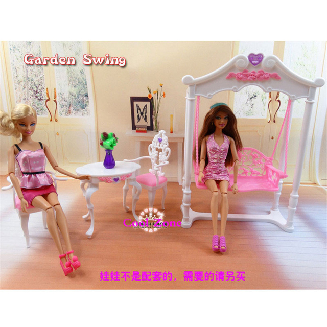 Miniature Furniture Rose Palace Garden Swing Leisure Time for Barbie Doll  House Pretend Play Toys for Girl Free Shipping 6ddfd236603c