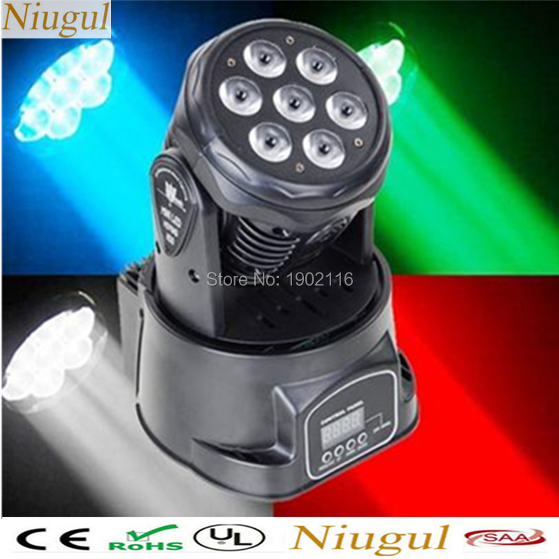 HOT 7x12W LED Moving Head/RGBW color Mini wash lights/ /LED DMX effect stage light/dj disco lighting /LED light ktv chandelier high quality mini 10w led spot moving head 7 gobo stage light disco dj dmx512 rgbw stage effect projector stereotypes packaged