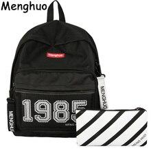 Фотография Menghuo Preppy Style Leisure Girl School Bags for Teenagers Backpack Set Women Travel Bags 3 Pcs/Set Rucksack Mochila Knapsack