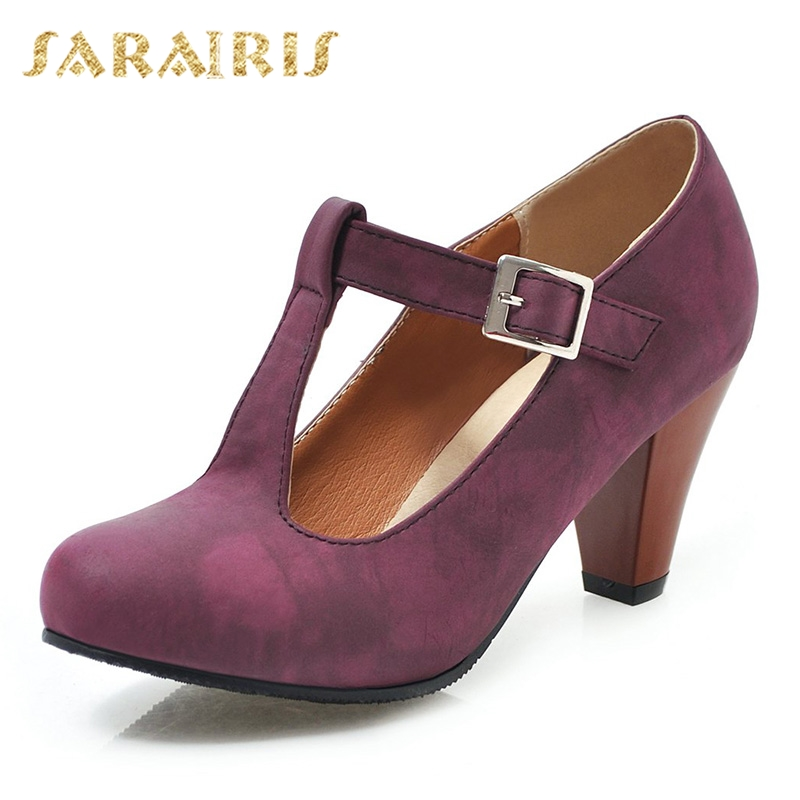 SARAIRIS Brand Hot Sale Plus Size 32-48 Luxury Mary Janes Pumps Ladies High Heels Shoes Woman Party Ol Spring Autumn Footwear
