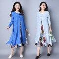 Mulher grávida dress outono manga longa maternidade roupas de linho de algodão floral retro soltas casual vestidos longos ce320