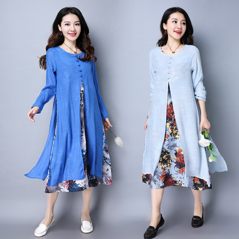 Pregnant Woman Dress Autumn Long Sleeve Floral Cotton Linen Maternity Clothes Retro Loose Casual Long Dresses CE320